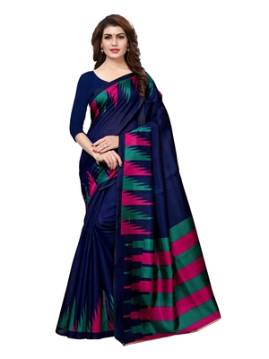 Navy-Blue plain art silk saree with blouse