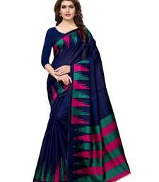 Navy-Blue Plain Art Silk Saree With Blouse