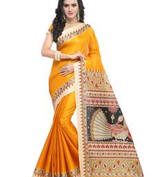 Buy Yellow plain art silk saree with blouse women-ethnic-wear online