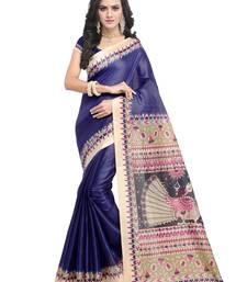 Buy Navy blue plain art silk saree with blouse great-indian-saree-festival online