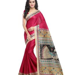 Buy Red plain art silk saree with blouse women-ethnic-wear online