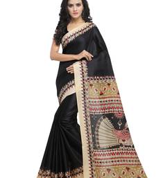 Buy Black plain art silk saree with blouse great-indian-saree-festival online