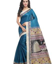 Buy Blue plain art silk saree with blouse great-indian-saree-festival online