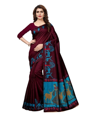 Purple Plain Art Silk Saree With Blouse