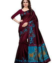 Buy Purple plain art silk saree with blouse great-indian-saree-festival online