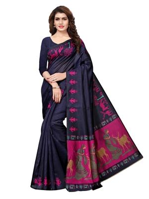 Navy Blue Plain Art Silk Saree With Blouse