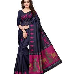 Buy Navy blue plain art silk saree with blouse art-silk-saree online