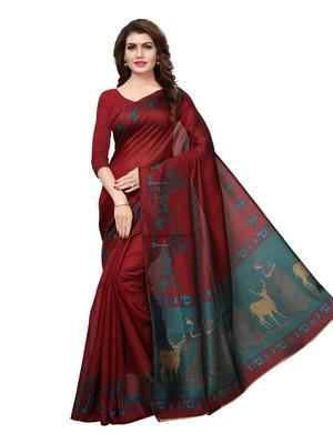 Maroon Plain Art Silk Saree With Blouse