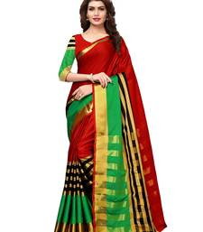 Buy Maroon woven silk blend saree with blouse art-silk-saree online