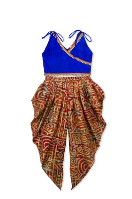 Blue Embroidered Art Silk Kids Dhoti With Angrakha Choli