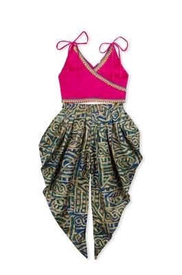 Pink Embroidered Art Silk Kids Dhoti With Angrakha Choli