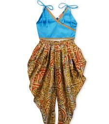 Sky Blue Embroidered Art Silk Kids Dhoti With Angrakha Choli