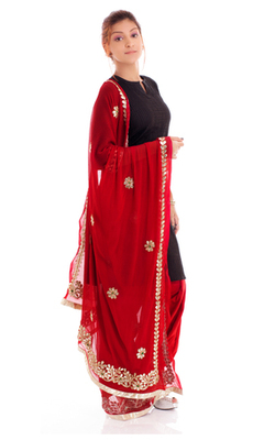 Buy Georgette Red Patiala Dupatta Set Online