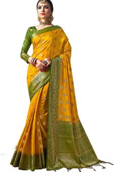 37bc17484891c Yellow plain semi kanchipuram silk saree with blouse