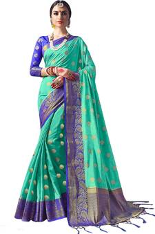 cdd32c421d88fd Sea green plain semi kanchipuram silk saree with blouse