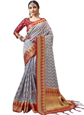Grey plain semi kanchipuram silk saree with blouse