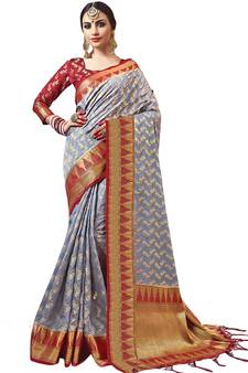 ad9dd5ac56127b Grey plain semi kanchipuram silk saree with blouse