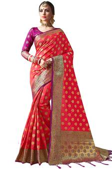 a6f652b2f87d0b Red plain semi kanchipuram silk saree with blouse