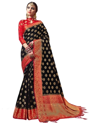 Black plain semi kanchipuram silk saree with blouse