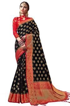 9bb9dd936dc Black plain semi kanchipuram silk saree with blouse