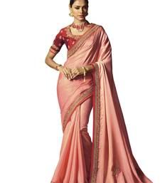 Buy Peach embroidered   satin saree with blouse satin-saree online