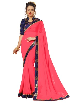 Pink printed satin saree with blouse