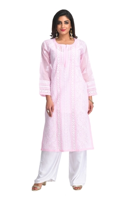 Ada Hand Embroidered Pink Cotton Chikankari Kurti