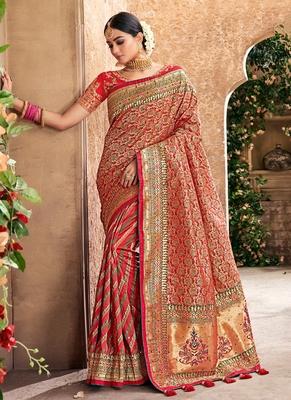 6e611399a9 Red woven banarasi saree with blouse - Monjolika - 2728752