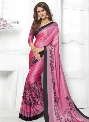 2e03e33406 Pink printed satin saree with blouse - Rivera Sarees - 2728765