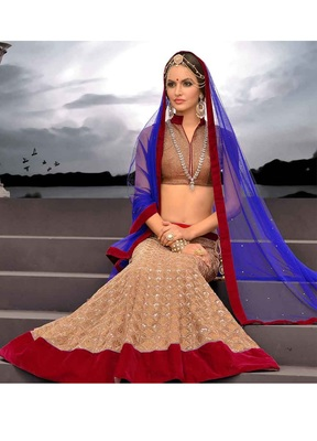 Copper Embroidered Lehenga With Blue Net Dupatta