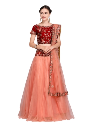abe0dd7942 peach embroidered net lehenga with dupatta - AASVAA FASHION - 2728844