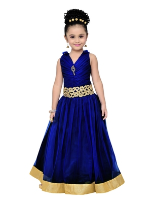 Navy Blue Kids Partywear Gown For Girls