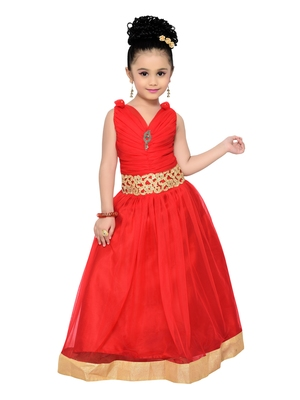 Red Kids Partywear Gown For Girls