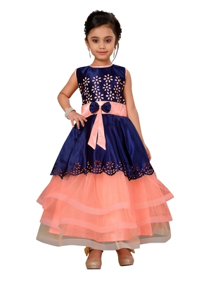 Peach Kids Partywear Gown For Girls