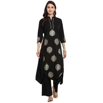 Black Color A-Line Foil Print Kurta