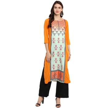Orange Color Straight Digital Print Kurta Palazzo Set