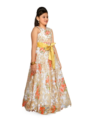 Orange Kids Partywear Gown For Girls