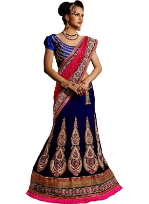 Blue net embroiderred bridal lehengas