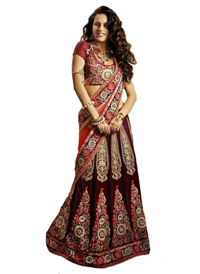 Red net embroiderred bridal lehengas