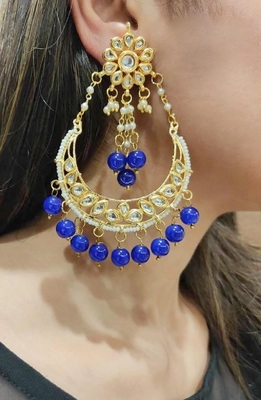 Erum blue Kundan Chandbali Earrings
