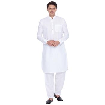 White Linen Pathani Khan Suit Set