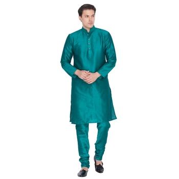 Green Cotton Silk Kurta And Pyjama Set