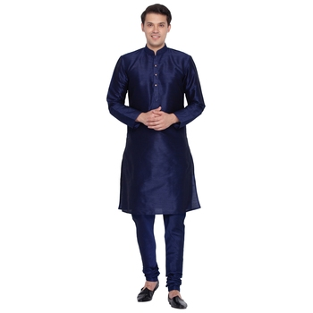 Navy Blue Cotton Silk Kurta And Pyjama Set