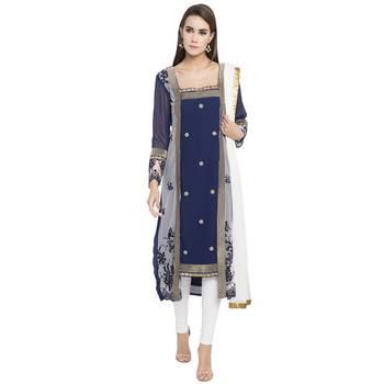 Blue printed georgette salwar with dupatta