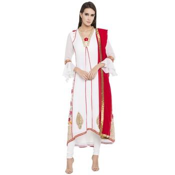 White Printed Georgette Salwar With Dupatta