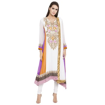 Off White Embroidered Georgette Salwar With Dupatta