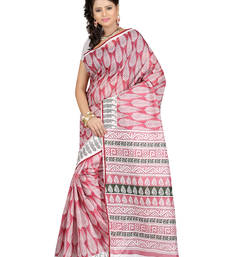 Buy Maroon Printed cotton saree with blouse cotton-saree online