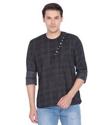 Men Black Cotton Short Kurta
