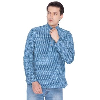 Men Blue Cotton Short Kurta
