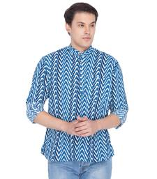 Men Blue Cotton Short Kurta